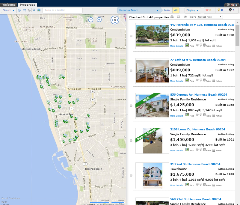example of MLS search displayed digitally on one of our real estate digital service products