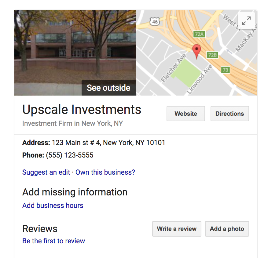 digitally displayed real estate search result