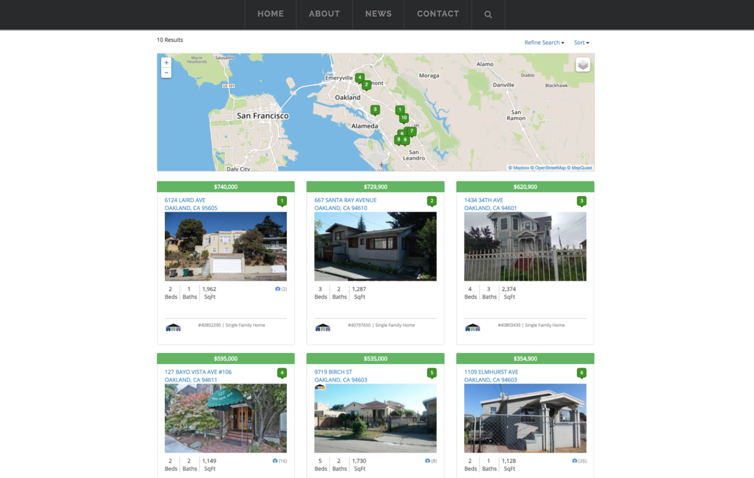 real estate website showing digital listings