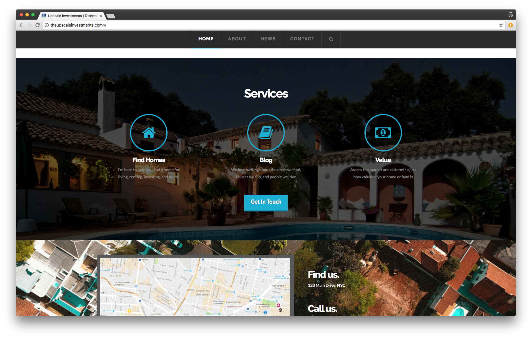 real estate website showing digital marketing